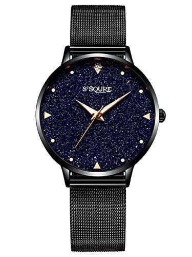 Alienwork Damen-Armbanduhr Quarz schwarz mit Metall Mesh Armband Edelstahl echtes Marmor Zifferblatt
