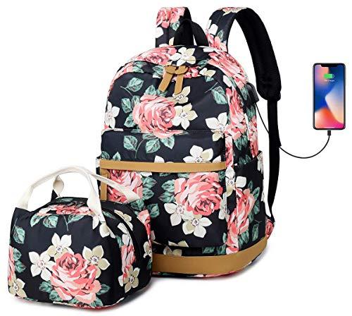 Mochila Mujer,Flor Niñas Mochila Escolar Conjunto con Bolsa de Almuerzo para Adolescentes Chicas-USB Charging Port 15,6 Portátil Mochila,Rosa