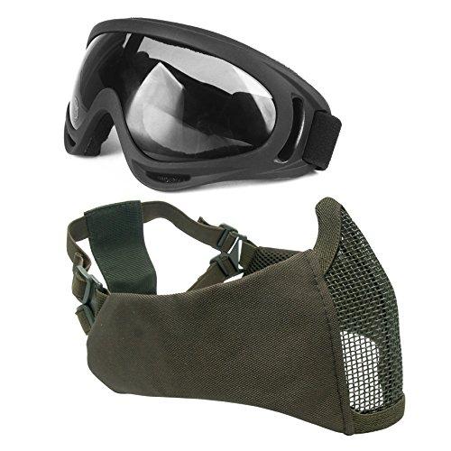 Wwman Juego de máscara de malla de acero con protección para las orejas y gafas con protección UV para airsoft paintball CS con correa ajustable