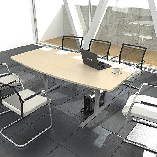 Weber Büroleben GmbH Easy Konferenztisch Bootsform 180x100 cm Ahorn Besprechungstisch Tisch, Gestellfarbe:Silber