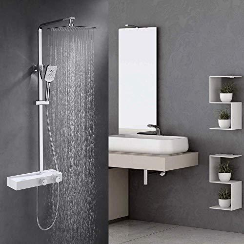 Amazon Brand - Umi Duschsystem mit Ablage - Duschset mit 3 Strahlarten Handbrause - Messing verchromt - Duschstange Höhe 950-1250 mm Einstellbar - Weiß