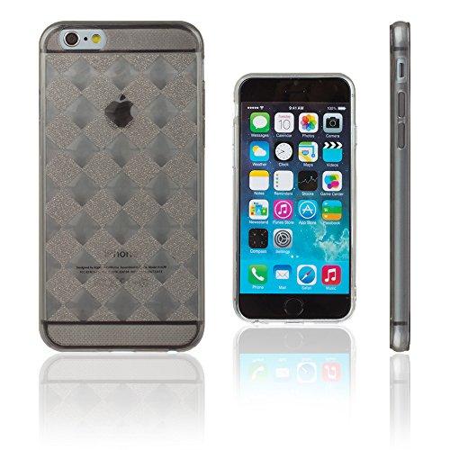 Xcessor Checkered Diamond Ajedrezado Diamante Lustroso Funda Carcasa de TPU Gel Flexible para Apple iPhone 6 / 6S. Transparente/Gris