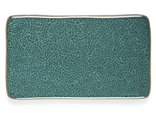 BITZ 821275 Speiseteller, rechteckig, Keramik, Grün, 220 mm, 128 mm