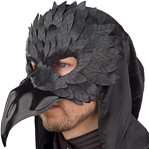 Das Kostümland Raben Krähen Maske für Herren - Schwarz - Zubehör Accessoire Augenmaske Kostüm Todesbote Todesvogel Pestarzt Halloween Fasching Mottoparty Gothic