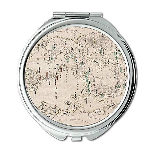 Spiegel, Reise-Spiegel, Karte Wallpaper Karte New York City, Taschenspiegel, tragbare Spiegel