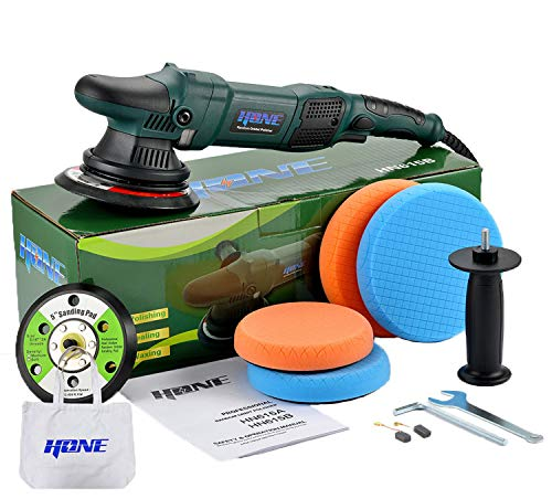"HONE Car Polisher Buffer, 6""/5""/850W Dual Action Buffer with Variable Speed, 15mm Long-Throw Ramdom Orbital Polisher, 4 Professional Pads with Car Polishing Kit."