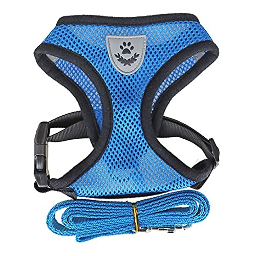 LUBINGT Pet Accessories Reflective Dog Harness Vest No Pull Puppy Dogs Cats Harness Adjustable Mesh Vest Pet Harness and Leash Set for Small Medium Dog (Color : Blue, Size : S(1.5 2.5kg))
