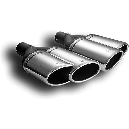 Cartuner Duplex Auspuffblende Endrohr Doppelendrohr 2 X 90mm 2er Set Schwarz 60mm Anschluß Auto