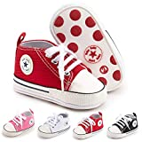 BiBeGoi Save Beautiful Infant Baby Boys Girls Rubber Sold Canvas Sneaker Soft Anti-Slip Star High Top Ankle Newborn Toddler First Walkers Crib Shoes
