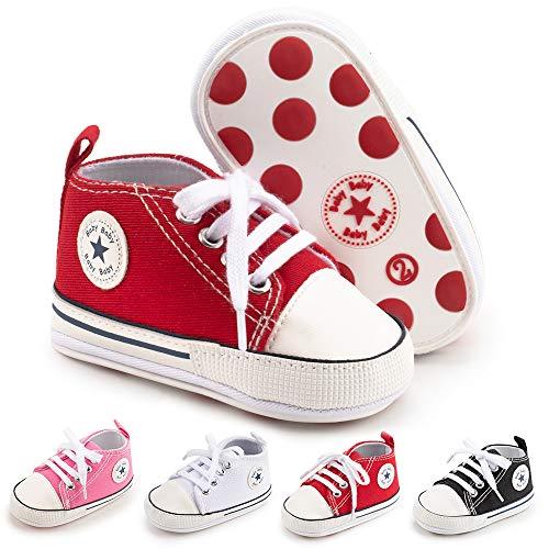 BiBeGoi Tenis de lona para bebés y niños y niñas, suela suave, para primeros caminantes, zapatos casuales para niños pequeños, color Negro, talla 6-12 meses