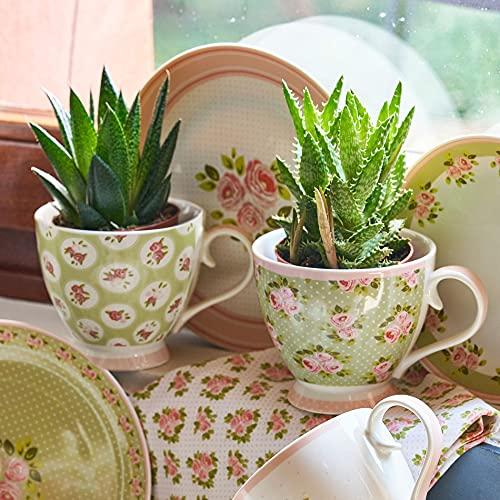 Taza Mug, Taza de Porcelana, Taza Desayuno, Taza de Café Romántico Rústico Shabby Chic - Floral - 10x15 - Verde claro/Rosa