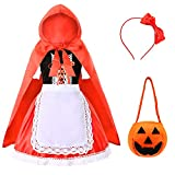 Little Red Riding Hood Costume for Girls Kids Halloween Cosplay Costume Age 3-12 Years (120 Red)