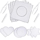 Canomo 10 Pieces (4 Shapes) Fuse Beads Pegboards Boards Clear Plastic Pegboards with 4 Pieces Tweezers for 5 mm Beads