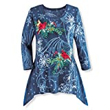 Women's Sparkling Sequin Snowflakes Winter Tunic