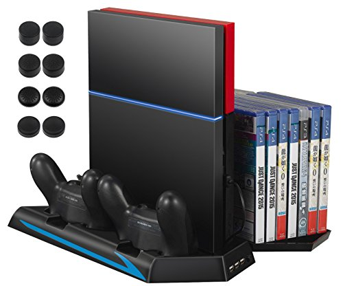AMIR PS4 Vertical Stand Cooling Fan, Cooler Charging Station with 2 Controller Charging Port + 14 Game Disc Storage + 3 HUB Ports + 8 Controller Thump Grips ( Not for Pro or Slim)