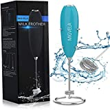 MIGVELA Milk Frother Handheld, Portable Coffee Frother with 2-Layer Stainless Steel Whisk and Sleek Stand Milk Foam Maker for Latte, Cappuccino, Matcha and Hot Chocolate etc.
