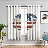 Rideau isolant décoratif décoratif pour salle de bain Motif drapeau américain cousu à la main Motif ballon de rugby vintage Motif football Multicolore 54 x 39 cm