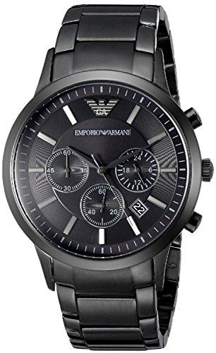 Emporio Armani AR2453Herren-Quarzuhr aus Edelstahl, schwarzes Zifferblatt