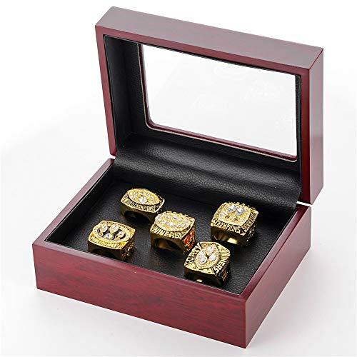 WANZIJING 5 Stücke des Mannes Ringe Sets, San Francisco 49ers Championship Replica Ring Super Bowl Sport Fan Ringe Größe 11 für Freund Sammlerstück