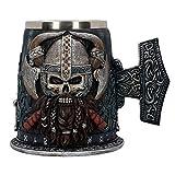 YZSL Crneo de Acero Inoxidable Taza de Viking Warrior Jarra de Cerveza, Medieval crneo de Halloween Drinkware Drinkware de la Barra de Regalos para el caf/Bebidas/Jugo