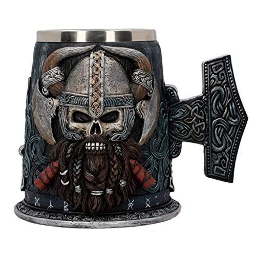YZSL Cráneo de Acero Inoxidable Taza de Viking Warrior Jarra de Cerveza, Medieval cráneo de Halloween Drinkware Drinkware de la Barra de Regalos para el café/Bebidas/Jugo