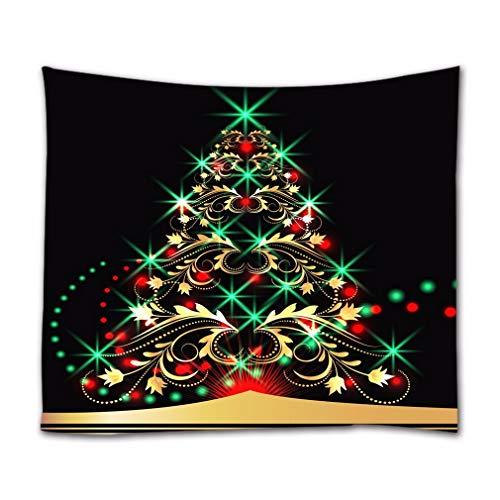 A.Monamour Tapices de Pared Brillante Vintage Floral Dorado Árbol De Navidad con Luces Verdes Decoraciones Navideñas Tela Textil Negro Tapiz Tapiz Cortinas Mantel Colcha Toalla De Playa 180x200cm