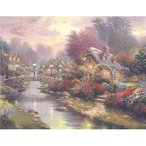 Thomas Kinkade 5D Diy Round Diamond Painting House Cross Stitch Diamond Embroidery Kits Diamond Mosaic Vintage Home Decor Wg1679 Square Drill 35X50Cm A