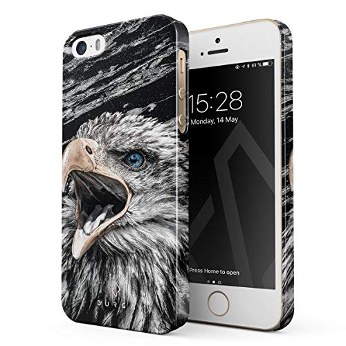 BURGA Hülle Kompatibel mit iPhone 5 / 5s / SE - Handy Huelle Vogel Wild Adler Eagle Savage Dünn Robuste Rückschale aus Kunststoff Handyhülle Schutz Hülle Cover