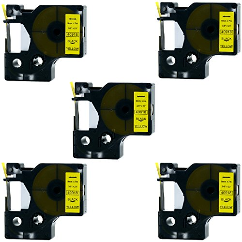 Replace Label Tape for D1 40918 41918 S0720730, LaBold Black on Yellow Label Cassette for Standard D1 Label Manager 210D 260P 360D 420P 450D LabelMaker 3/8 Inch x 23 Feet (9mm x 7m),5 Pack