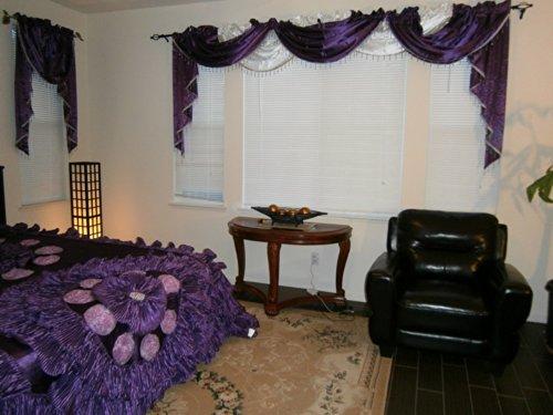Octorose Royalty Custom Waterfall Window Valance Swags & Tails (Purple, Swag(66x37 WxH))