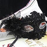 TINKSKY Fleur de Lys Cristal Strass Decor Dentelle vénitien Masque de Mode pour Halloween/Masquerade/Costume Party (Noir)