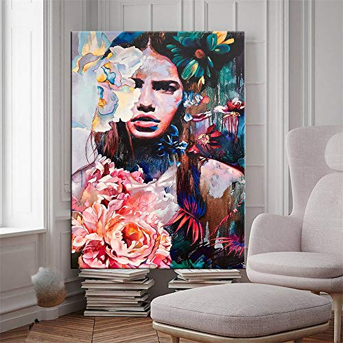 mlpnko Doodle girl DIY Oil Painting Drawing Canvas with Brushes Decorations Gifts40x60cm DIY FRAME