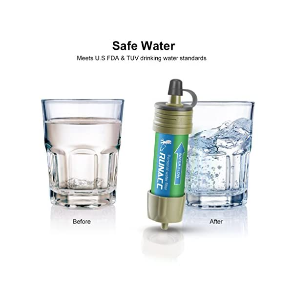 hasta 10 000 litros Filtro de Agua con Bomba de Bola para Beber r/ápidamente y Voltear preparaci/ón de Emergencia RUNACC Mini purificador de Agua con Alta Capacidad dise/ño Integrado