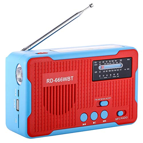 Crank Radio Flashlight Emergency Cell Phone Charger Lantern, Solar Powered AM/FM NOAA Weather Alert with LED Flashlight MP3 Player Speaker and Large Power Bank 2300mAh for iPhone/Smart Phone