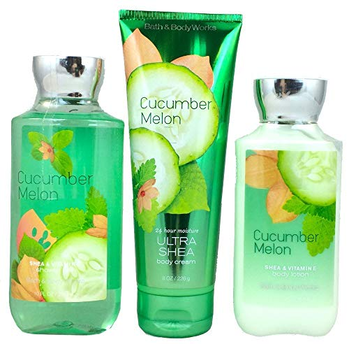 Price comparison product image Bath & Body Works Signature Collection Cucumber Melon Gift Set ~ Body Cream ~ Shower Gel & Body Lotion. Lot of 3