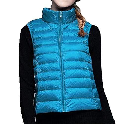 Chaleco de plumas para mujer, sin mangas, ultraligero, ligero, resistente al viento, cálido