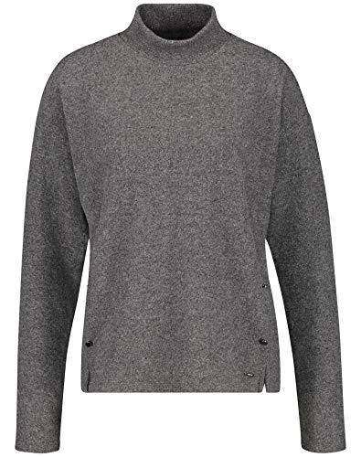 Taifun Damen Shirt mit Turtelneck figurumspielend, leger Carbon Grey Melange 38
