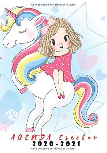AGENDA ESCOLAR 2020-2021: Agenda escolar para estudiantes unicornio ,rosado calendario 2020+2021 niña ,Planificadora diaria y mensual ,