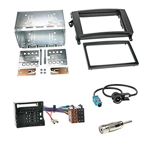 Einbauset : Autoradio Doppel-DIN Blende Einbaurahmen Radioblende schwarz + ISO Radio Adapter Adapterkabel für Mercedes A-Klasse (W169) B-Klasse (W245) 06/2005-06/2011 Viano (W639) Vito (W639) ab2006
