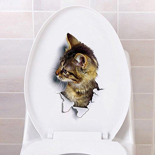 QIEP Pegatinas de pared 3D para gatos, pegatinas de expresión para gatitos, pegatinas de aseo de animales extraíbles, para sala de estar, dormitorio, cuarto de baño (C)