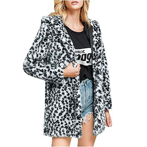Bowake Women Warm Long Sleeve Parka Faux Fur Coat Hooded Open Front Leopard Cardigan with Pockets