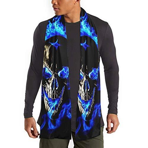 RROOT Schal für Damen und Herren, mit blauer Flamme und Totenkopf, leicht, Unisex