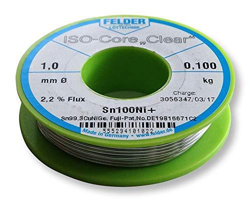 Felder FCL100100Ni+ Lötzinn ISO-Core Lötdraht Clear Sn100Ni+ Sn99,3CuNiGe...