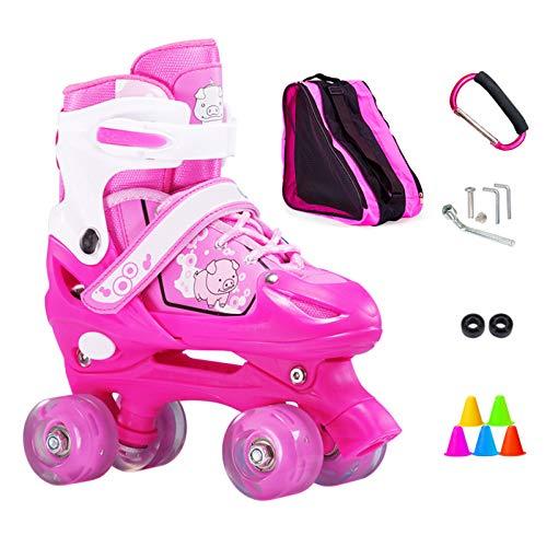 ZCRFY Inline-Skates Rollschuhe Verstellbare Zweireihige 4-Rad-Kinder Inline-Skates Roller Für Anfänger 2-15 Jahre Alte Kinder Eisschuhe Geburtstagsgeschenke,Pink-M(33-37) Code-Set2