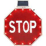 一時停止の標識、ソーラーLED点滅反射ストリート交通警告サイン、ヘビーデューティオクタゴン防錆メタルフレーム、アルミオクタゴン太陽のサイン、レジェンド「停止」8個の赤点滅LED付き