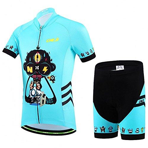 Niños Maillot de Bicicleta Ropa de Ciclo raje De Ciclismo Conjunto De Maillot Y Pantalones Cortos para Niño/Niña (Bicicleta Camiseta Manga Corta + Pantalones con Asiento Acolchado)-XL