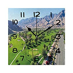 ALUONI Print Square Wall Clock, 8 Inch Aerial View of Palm Springs Quiet Desk Clock for Home,Office,School No056509