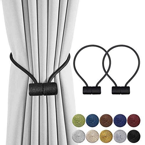 INHDBOX Ganchos magnéticos para cortinas de cortina, con clips, cuerda, para la parte trasera, para decoración del hogar, cafetería, oficina, 2 unidades, patente UE (007971841-0001)