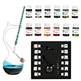 Thyggzjbs Handmade High Borosilicate Glass Glass Dip Pen Ink Set-Crystal Pen with 12 Colorful Inks for Art, Writing, Signatures, Calligraphy, Decoration, Gift (Light blue)