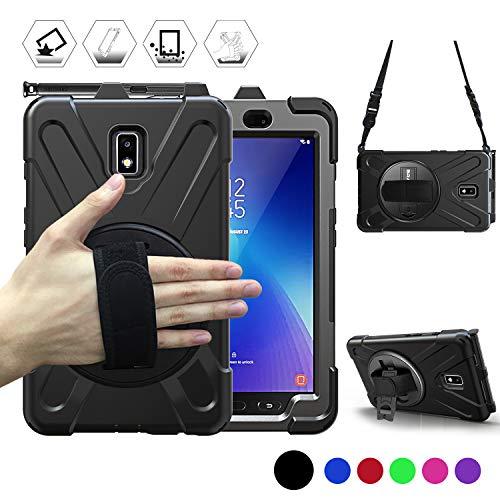 BRAECN Hülle für Samsung Galaxy Tab Active 2(SM-T390/SM-T395/SM-T397)8-Zoll, Stoßfeste Robuste Tragbare Hülle mit 360° Drehbarem Ständer, Handgurt, Stifthalter & Schultergurt 2017-Schwarz
